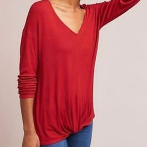 Anthropologie Bordeaux Red Ribbed Knot Top Shirt